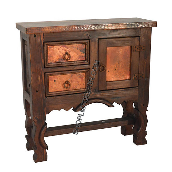 Elite Rustic Copper Yoke Leg Credenza with Two Drawers and One Door