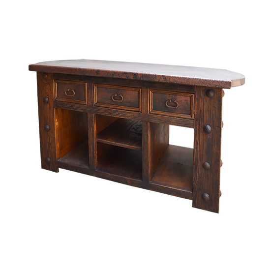 Copper and Wood Kitchen Island