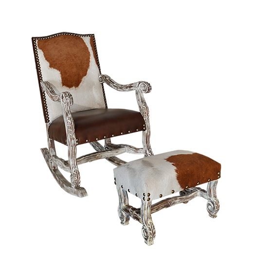 Cow Hide White Wash Rocker with Matching Foot Stool