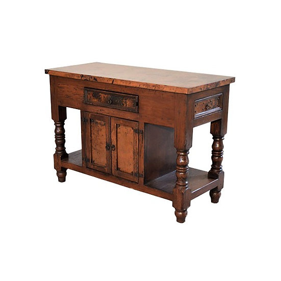 Copper Two Door Console with Side Drawer