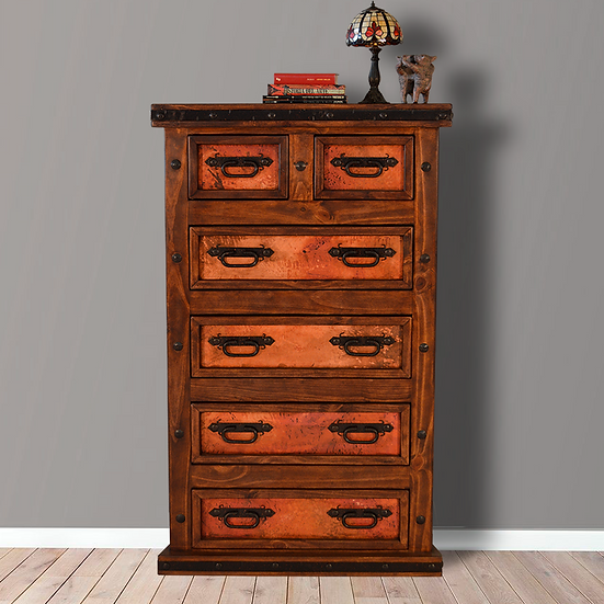 Six Drawer Natural Copper Chest