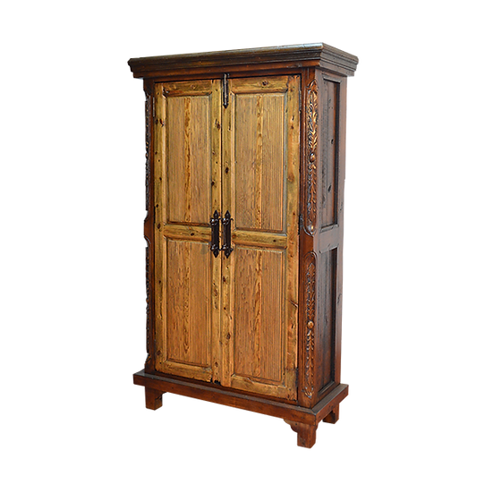 Natural Finish Armoire with Carvings