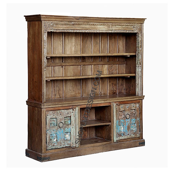 Carved Two Door Display Cabinet with Removable Shelf