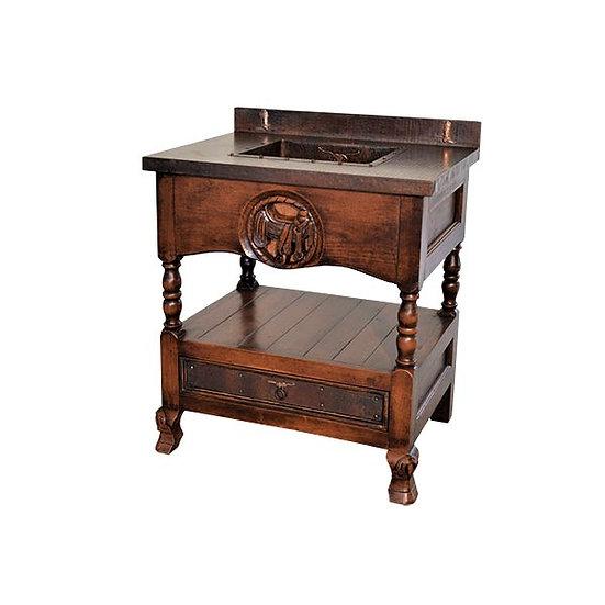 Single Copper Sink Vanity with Carved Saddle Design