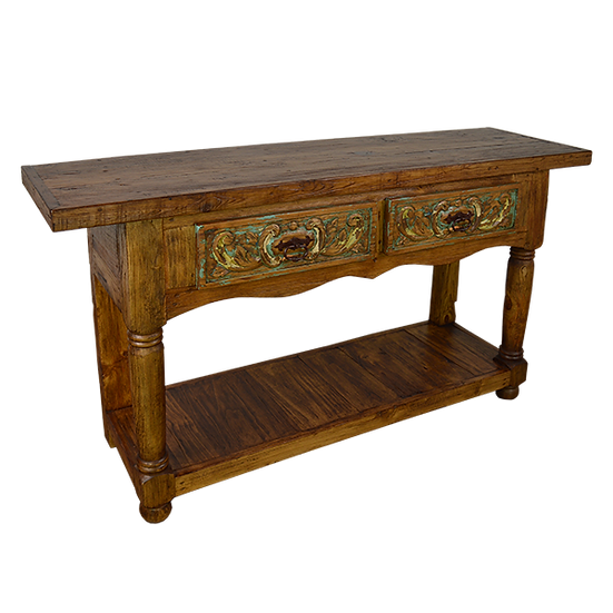 Hand Carved Console with Two Drawers