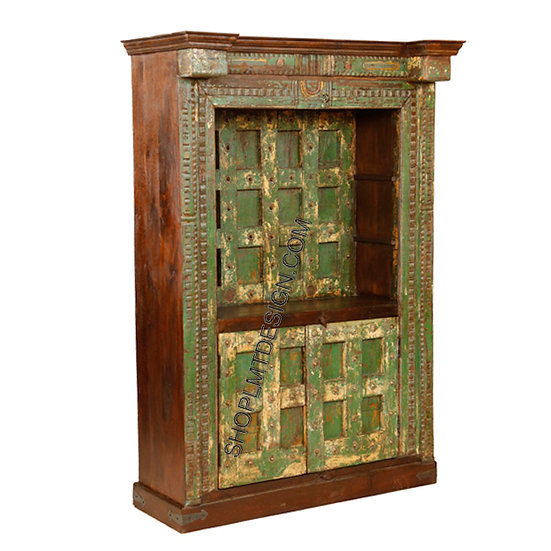 Carved Painted Backdoor Bookcase/Cabinet