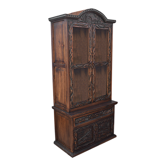 Hand Carved Double Door Gun Cabinet with Pheasant Decor