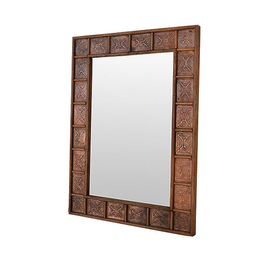 Mirror in Copper and Wood Frame