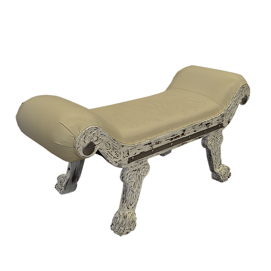 Hand Carved White Distressed Bench