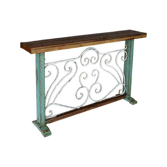 Black Smith Console with Hand Forged Iron Base