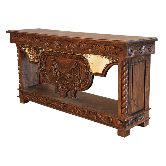 Hand Carved Console with Trunk Storage