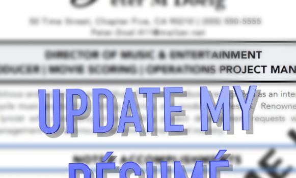 Returning Clients Only | Résumé Update