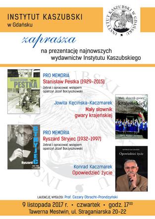 Zapraszamy serdecznie 9 listopada do Tawerny Mestwin na promocję najnowszych wydawnictw Instytutu!