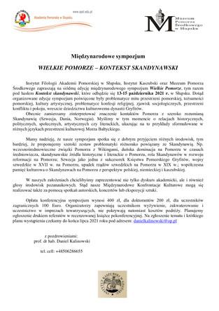 Międzynarodowe sympozjum WIELKIE POMORZE – KONTEKST SKANDYNAWSKI - 13-15 października 2021 r.