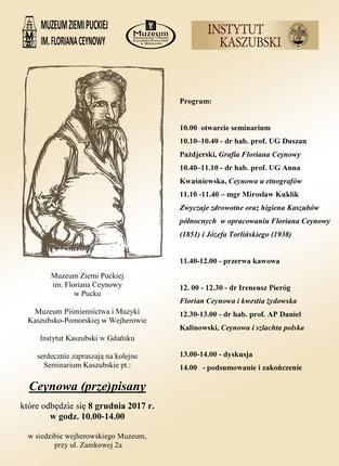 """Seminarium Kaszubskie pt. """"Ceynowa (prze)pisany"""""""