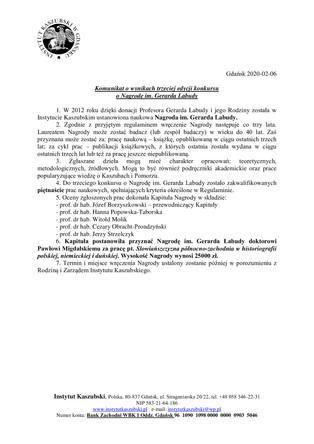 Komunikat o wynikach trzeciej edycji konkursu o Nagrodę im. Gerarda Labudy