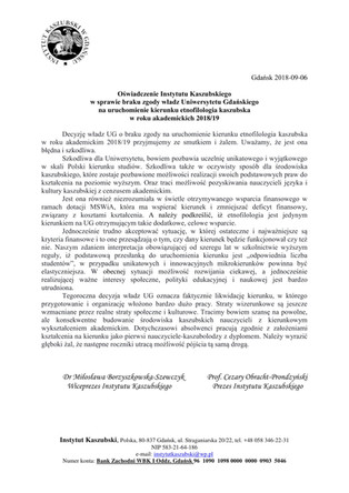Oświadczenie Instytutu Kaszubskiego w sprawie braku zgody władz Uniwersytetu Gdańskiego na uruchomie