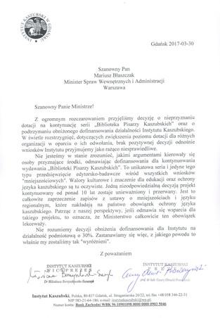 List do Ministra Spraw Wewnętrznych i Administracji w sprawie nieprzyznania dotacji na kontynuowanie