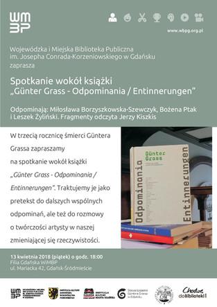 """Spotkanie wokół książki """"GünterGrass -Odpominania / Entinnerungen"""", 13.04.2018 godz. 18"""