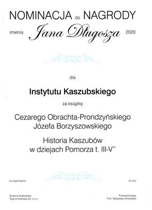 """Nominacja """"Historii Kaszubów w dziejach Pomorza t. III-V"""" do Nagrody imienia Jana Długosza 2020"""