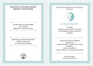 ODWOŁANE - Uroczystość wręczenia Nagrody im. Gerarda Labudy - 24.04.2020 r.