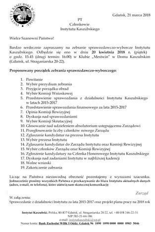 Zebranie sprawozdawczo-wyborcze Członków Instytutu Kaszubskiego - 20.04.2018 r.