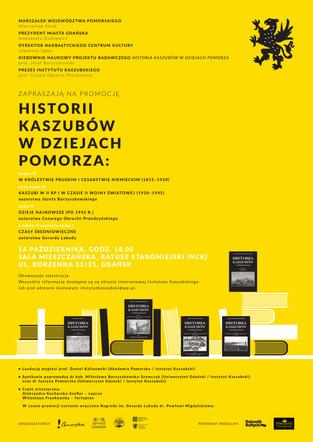 """- ODWOŁANE - Promocja """"Historii Kaszubów w dziejach Pomorza"""" - 16 października, godz. 18:00"""