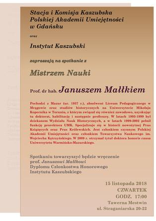 Spotkanie z Mistrzem Nauki - prof. dr hab. Januszem Małłkiem - 15.11.2018 r.