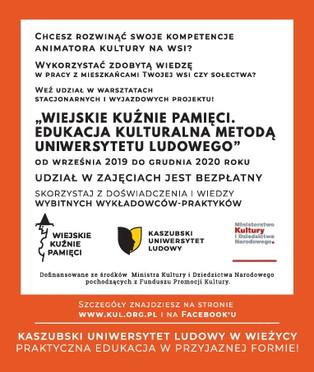 """Projekt """"Wiejskie Kuźnie Pamięci. Edukacja kulturalna metodą Uniwersytetu Ludowego dla rozwijan"""