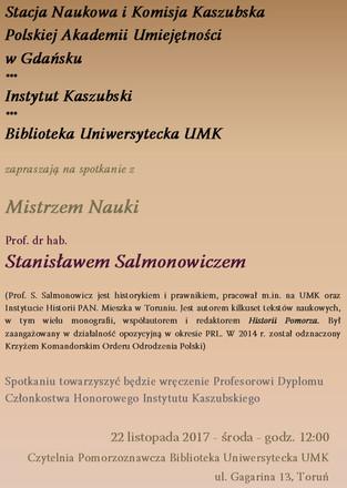 Spotkanie z Mistrzem Nauki - prof. dr hab. Stanisławem Salmonowiczem!