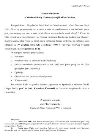 Zebranie Rady Naukowej Stacji Polskiej Akademii Umiejętności w Gdańsku - 19.04.2018 r.