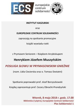 """Zaproszenie na spotkanie promocyjne książki """"POSŁUGA SŁOWU W PRYMASOWSKIM GNIEŹNIE"""" - 8.05"""