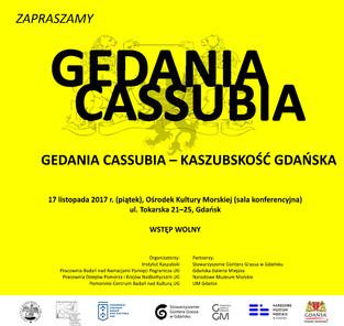 """Konferencja """"Gedania Cassubia - Kaszubskość Gdańska"""" - 17.11.2017 r."""