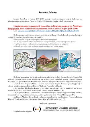 """Webinarium naukowe pt. """"Pomorskie ślady granicy"""" - 10.05, godz. 16:00,  on-line"""
