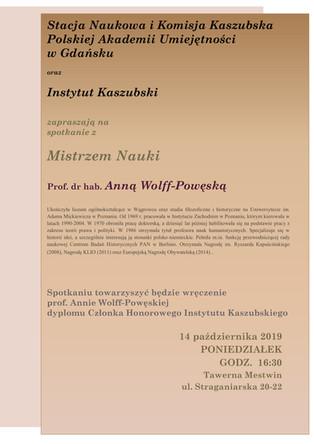 Spotkanie z Mistrzem Nauki - prof. Anną Wolff-Powęską - 14.10.2019, godz. 16:30