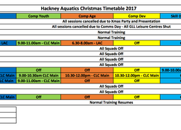 Important: Christmas Time Table