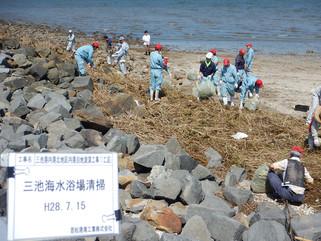 三池海水浴場(有明)の清掃ボランティア活動を実施しました。