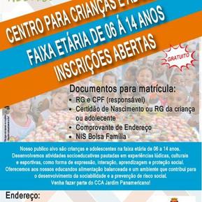 Inscrições abertas para o contraturno escolar no CCA Panamericano