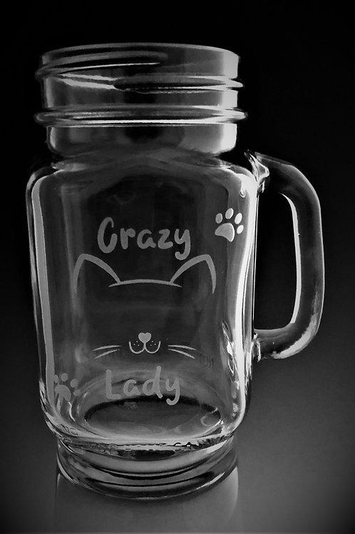 Crazy Cat Lady - Mason Jar Drinking Mug