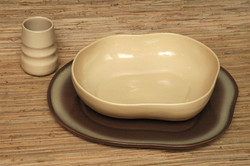 Honey salad bowl, tumbler, frosty fudge chop plate