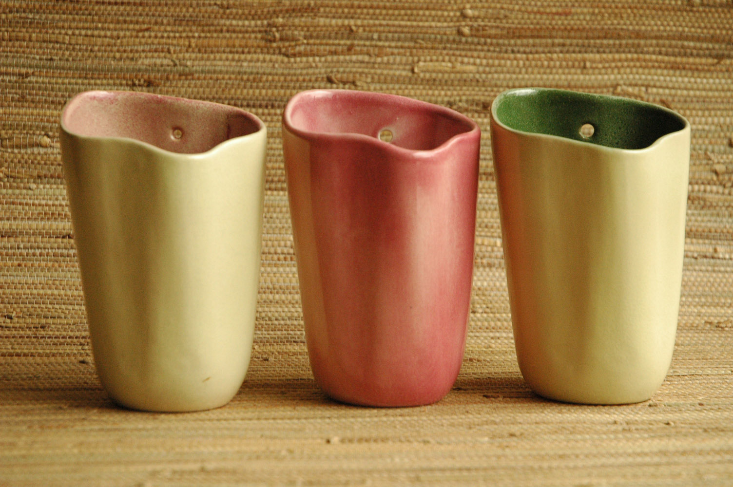 Tamac wall pockets in rare glazes