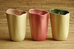 Tamac wall pockets in rare glazes