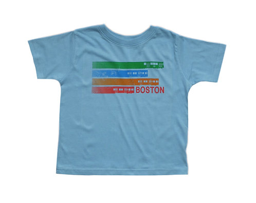 Toddler Light Blue T-shirt with all MBTA Trains