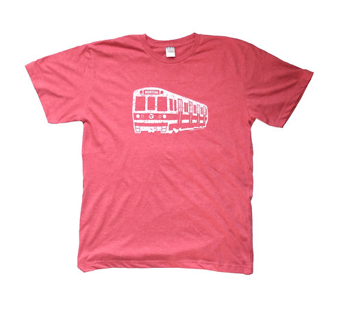 Heather Red Adult Boston Red Line Train T-shirt