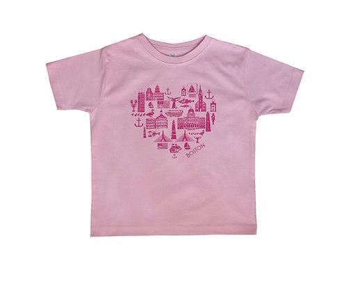 Pink Toddler Boston Icons landmark t-shirt