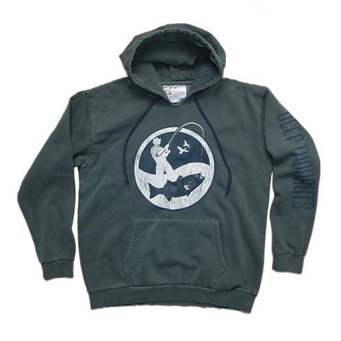 Faded Navy Fisherman Logo Hooded Sweatshirt