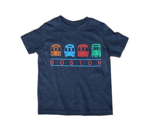 Navy Blue Toddler Boston MBTA Trains Chest Banner T-shirt