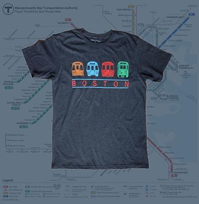 Adult MBTA Train Chest Banner T-Shirt