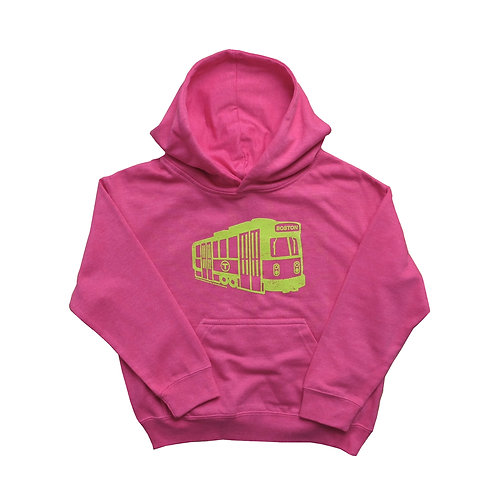 Hot pink Boston MBTA Green Line Hoodie for girls