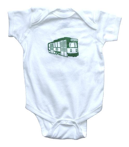 Cute Boston infant boy onesie with Green Line Trolley